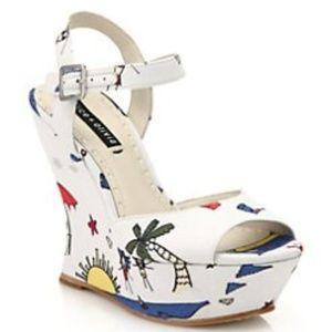 Alice Olivia Jana Beach- Platform Wedge Sandals 6